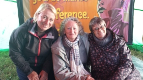 GP Party Leader Natalie Bennett, Jenny Jones and Molly Scott Cato MEP at Glastonbury Speaker's Forum 2015