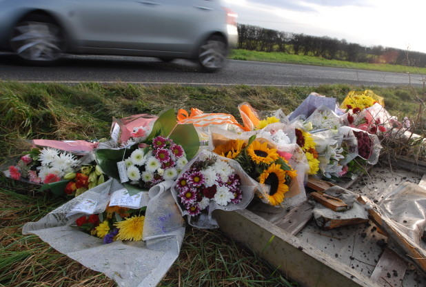 flowers-for-road-crash-victim